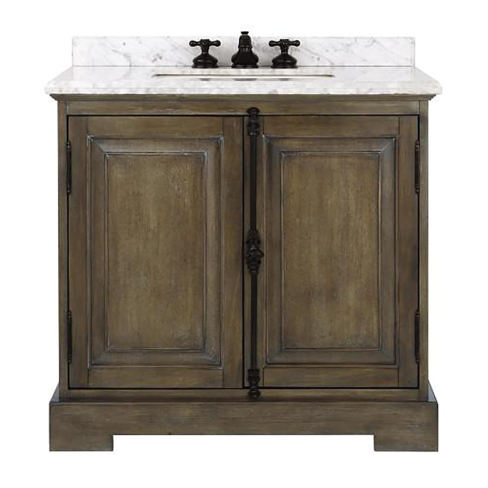 Home Decorators Collection Clinton 36 in. W Single Vanity in Almond Latte with Natural Marble Vanity Top in White with White Sink
