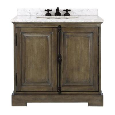 Clinton 36 in. W Single Vanity in Almond Latte with Natural Marble Vanity Top in White with White Sink