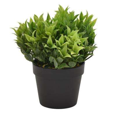7.5 in. Plastic Flower Pot Artificial Greenery in Green