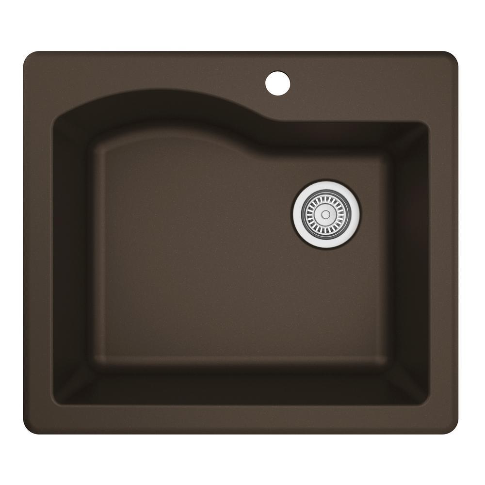 Drop-In Quartz Composite 25 in. 1-Hole Single Bowl Kitchen Sink in Brown