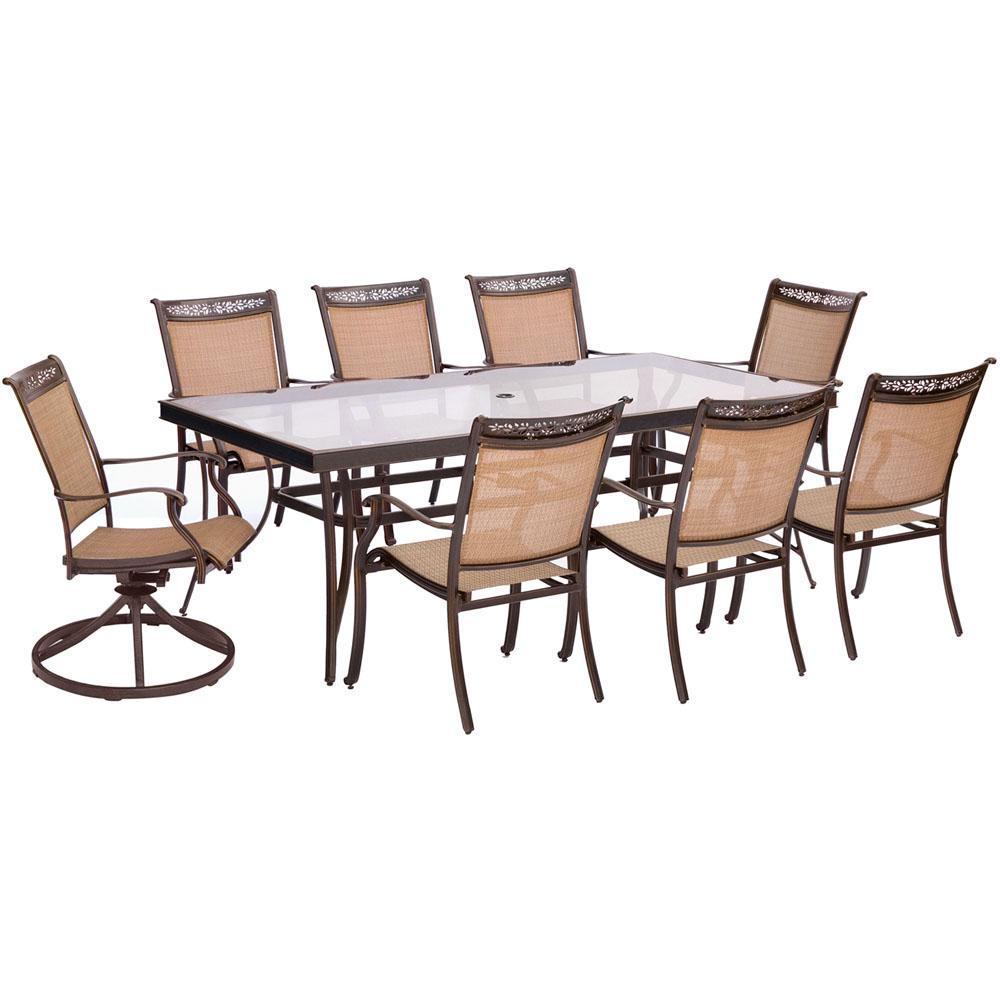Superieur Hanover Fontana 9 Piece Aluminum Outdoor Dining Set With Rectangular  Glass Top Table And