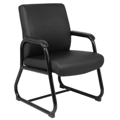 Heavy Duty Guest Chair Black Vinyl Cushions Heavy Gauge Steel frame Padded Arms Floor Glides