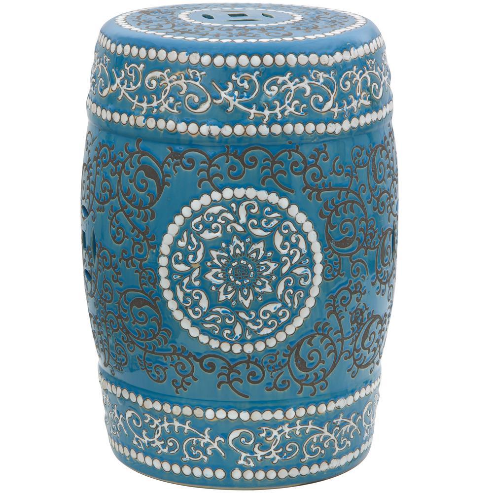 Oriental Furniture 18 in. Blue Medallion Porcelain Garden Stool