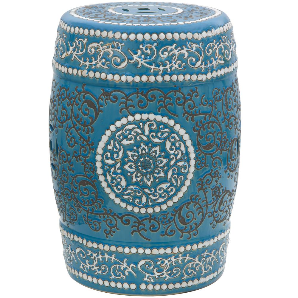 Oriental Furniture 18 in. Blue Medallion Porcelain Garden Stool