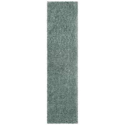 Flokati Blue 2 ft. x 8 ft. Runner Rug