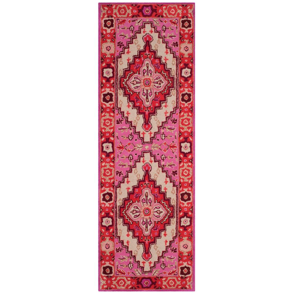 Safavieh Bellagio Red Pink Ivory 2 Ft X 7 Runner Rug