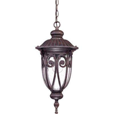 1-Light Outdoor Burlwood Incandescent Hanging Light