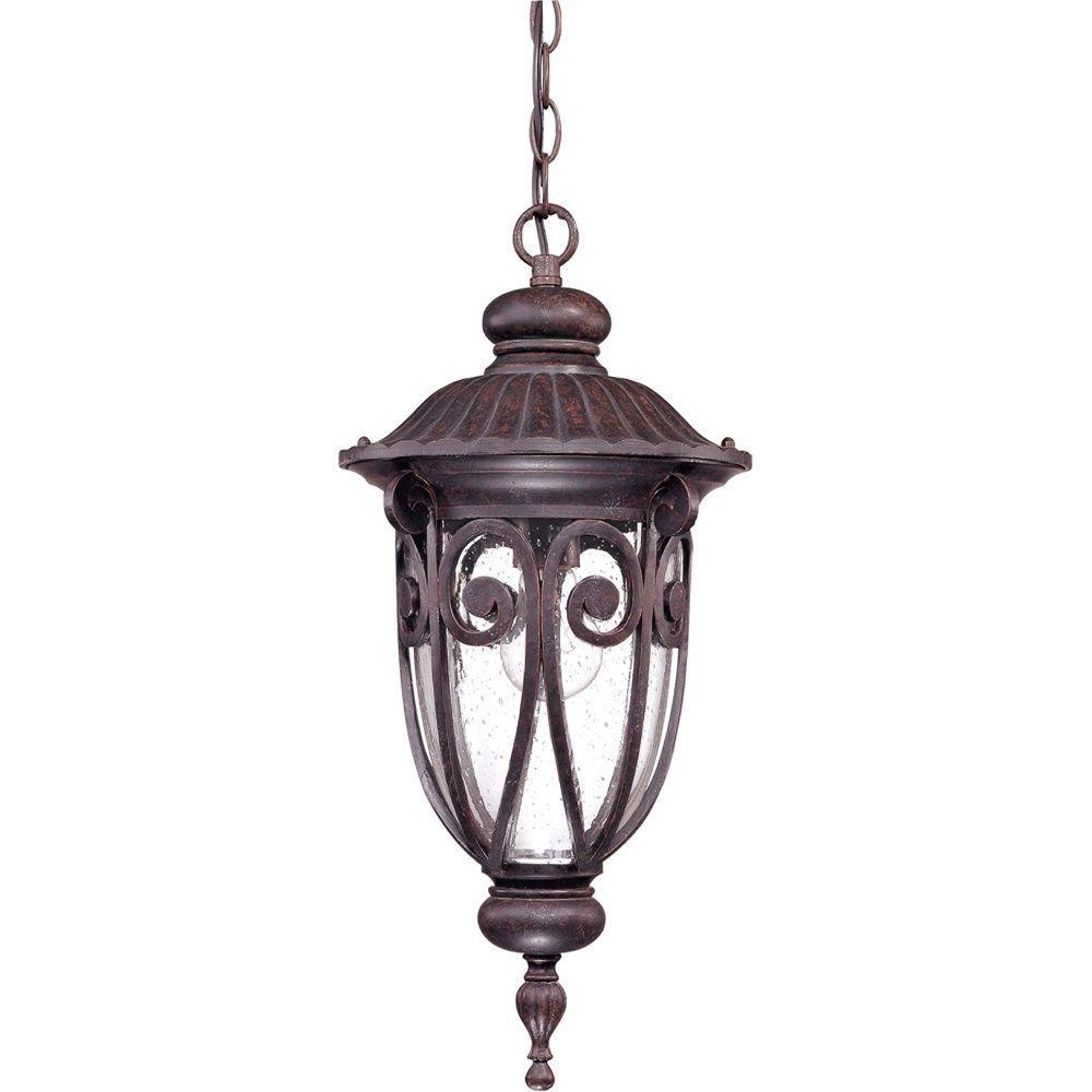 1-Light Outdoor Burlwood Incandescent Hanging Light