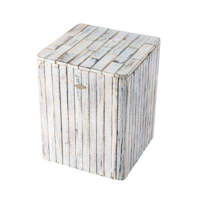 Michael Burning White Wood Garden Stool
