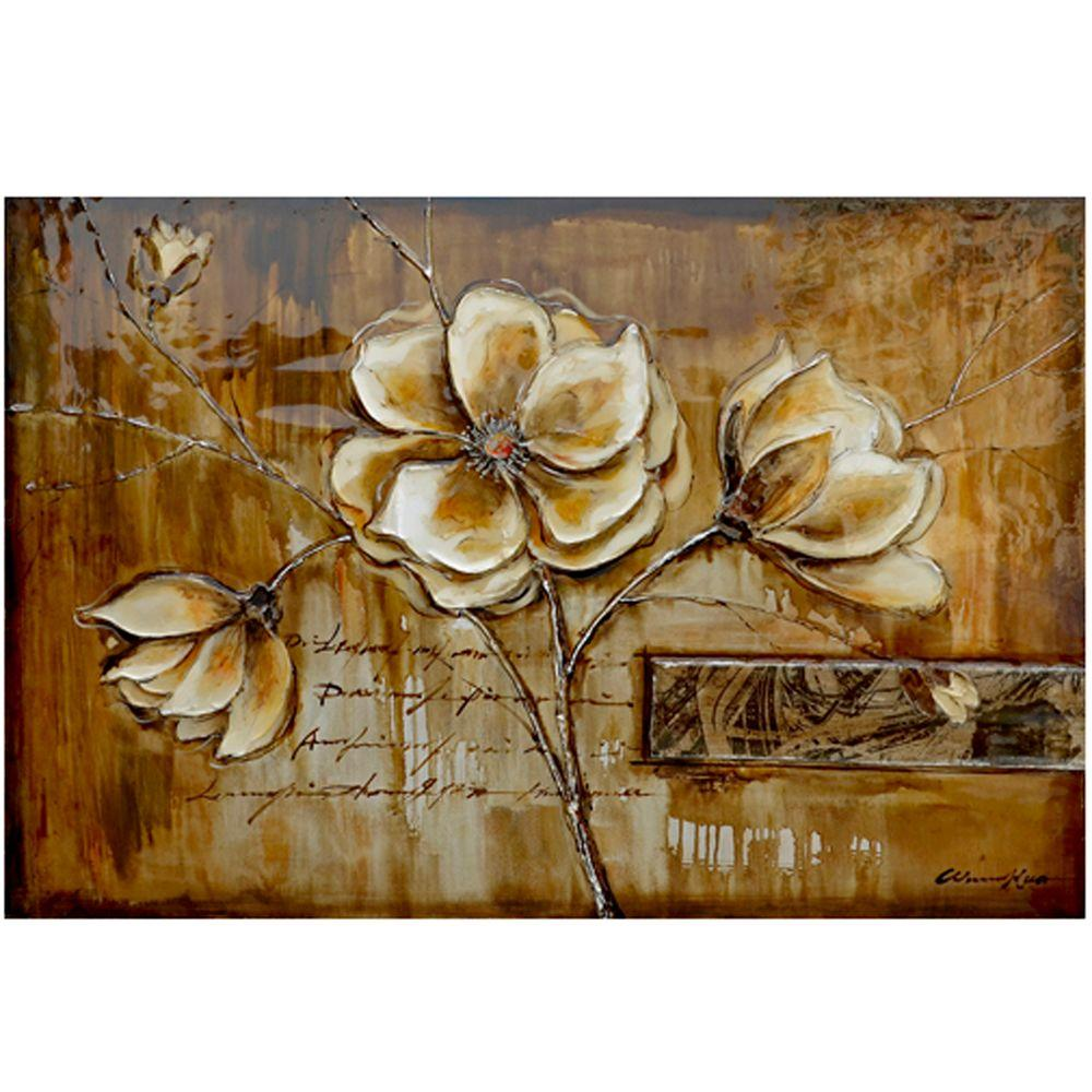 """Yosemite Home Decor 31 in. x 47 in. """"Bloom of a Plant II"""" Hand Painted Canvas Wall Art"""