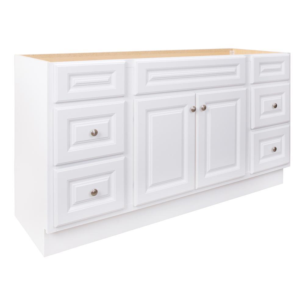 Glacier Bay Hampton 60 in. W x 21 in. D x 33-1/2 in. H Bathroom Vanity Cabinet Only in White