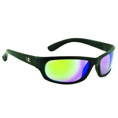 Black Frame Steelhead Sunglasses with Green Mirror Lenses