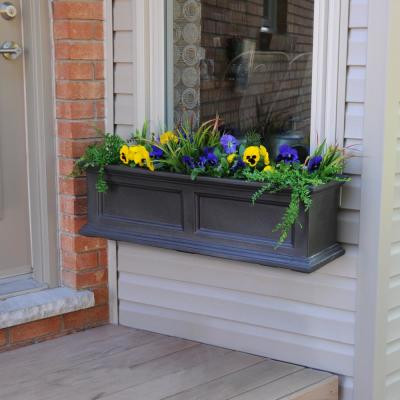 36 in. x 11 in. Espresso Plastic Window Box