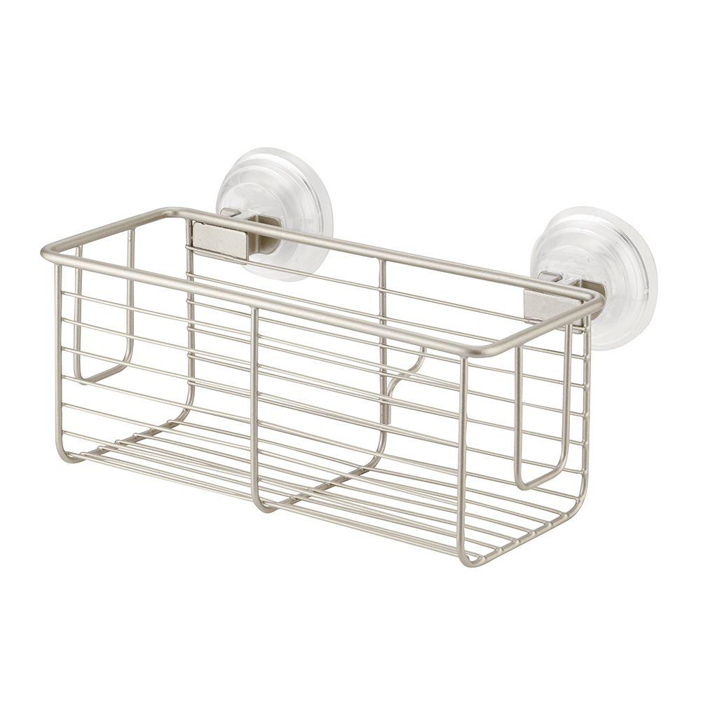 interDesign Classico Suction Basket in Satin-24325 - The Home Depot