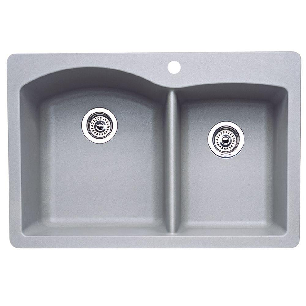 Diamond Dual Drop-in UnderMount Granite Composite 33 in. 1-Hole Double Bowl
