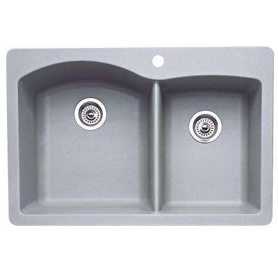 Diamond Dual Drop-in UnderMount Granite Composite 33 in. 1-Hole Double Bowl Kitchen Sink in Metallic Gray