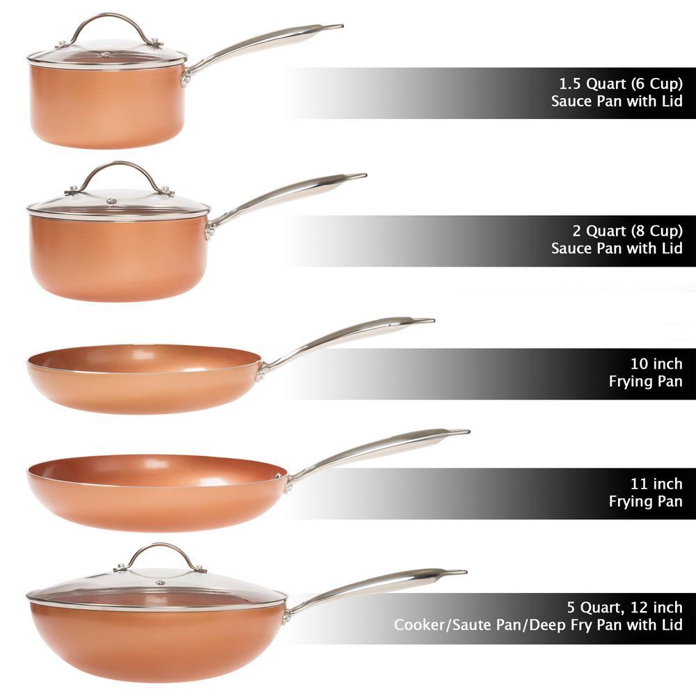 Classic Cuisine Allumi Shield 8 Piece Aluminum Ceramic Nonstick Cookware Set In Copper M030114 The Home Depot
