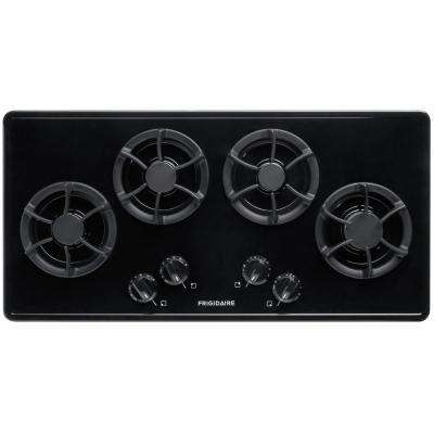 36 in. Recessed Gas Cooktop in Black with 4 Burners