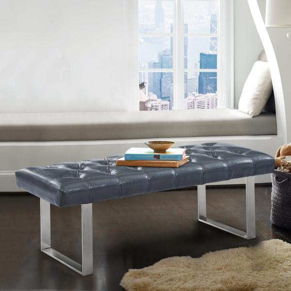 Armen Living Plaza Grey Faux Leather and Brushed Stainless Steel Contemporary Bench