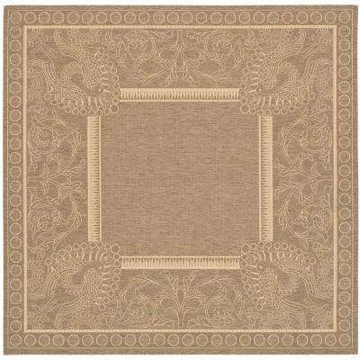 Courtyard Brown/Natural 8 ft. x 8 ft. Indoor/Outdoor Square Area Rug