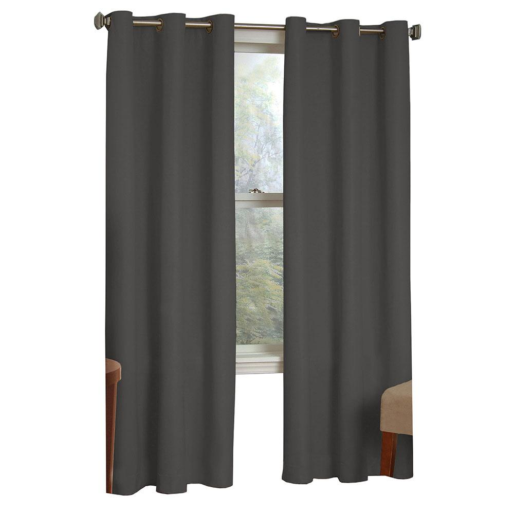 Blackout Microfiber Blackout Smoke Polyester Grommet Curtain (Price Varies by