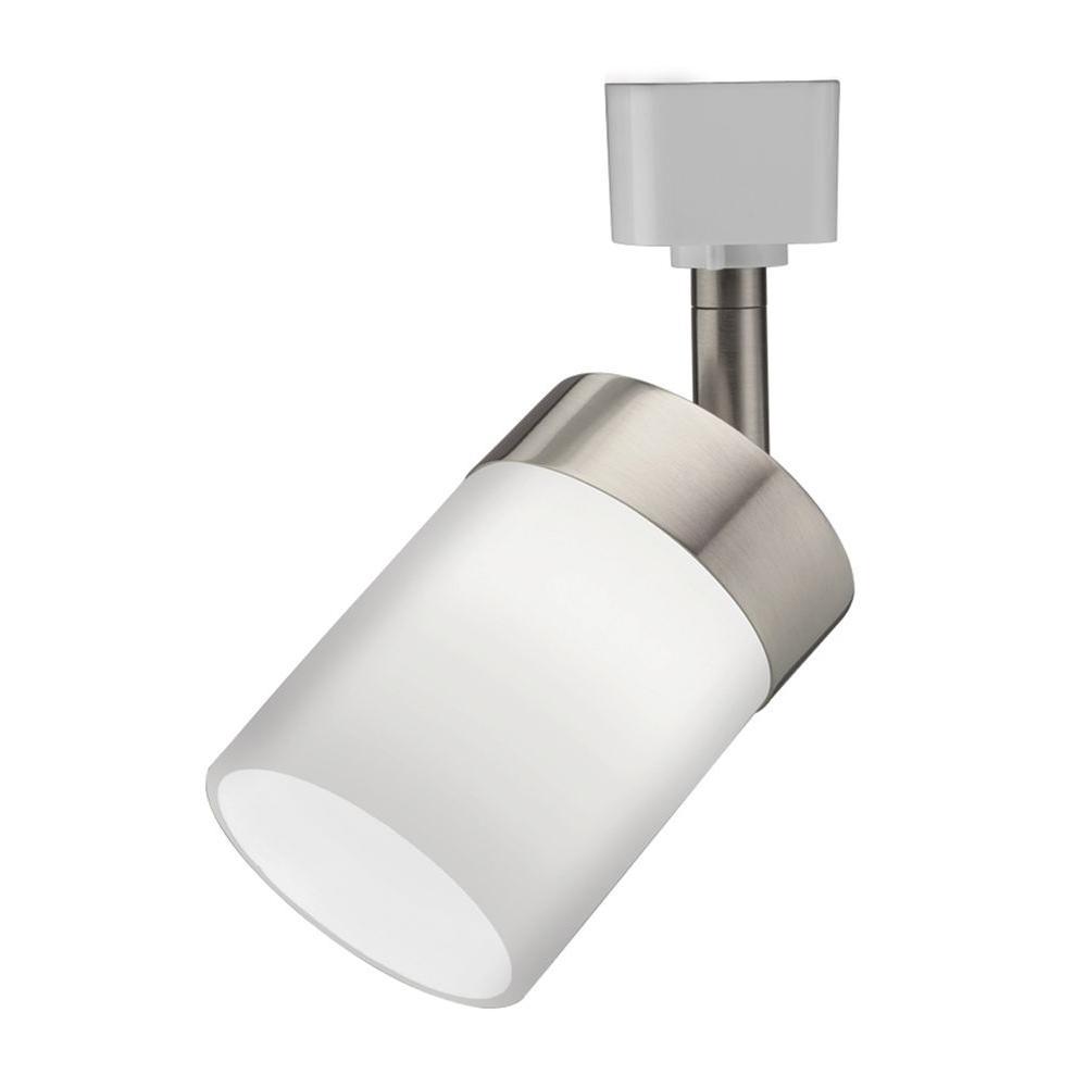 Cylinder Glass 1-Light Brushed Nickel Track Lighting Head