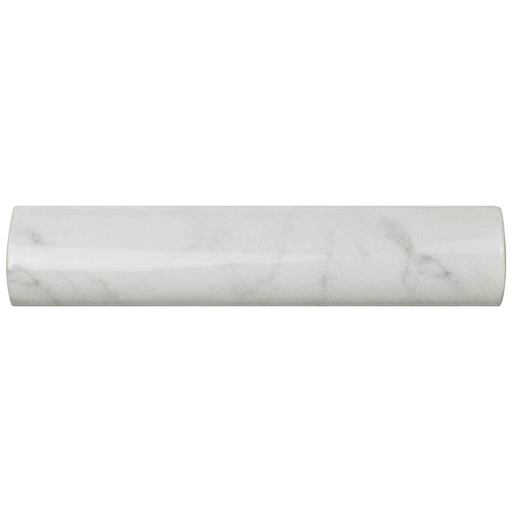 Classico Carrara Glossy Pencil Bullnose 1-1/4 in. x 6 in. Ceramic