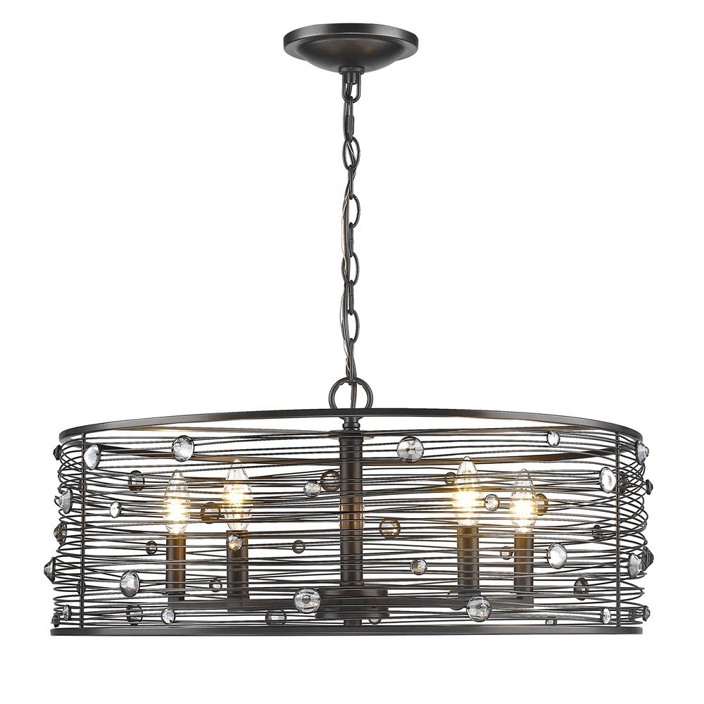 golden lighting chandelier. Golden Lighting Bijoux 5-Light Brushed Etruscan Bronze Chandelier With Light Shade-1998-5 EBB - The Home Depot R
