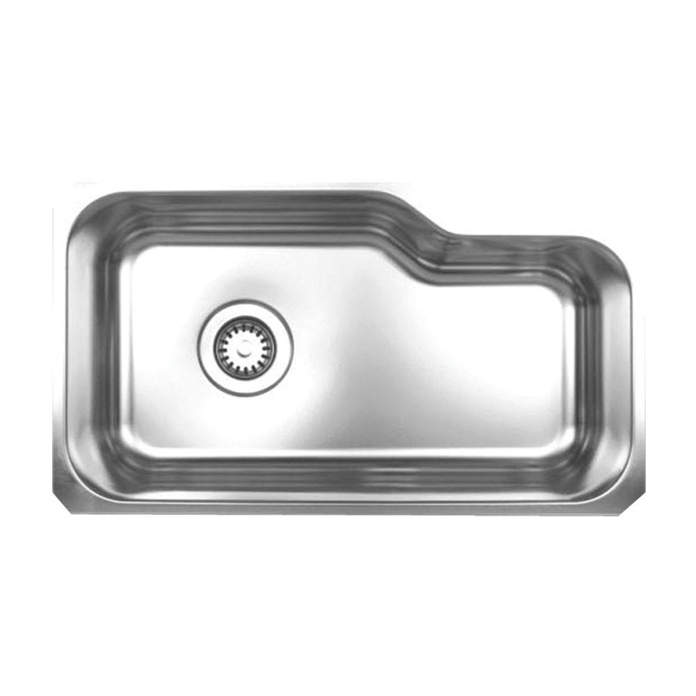 Noah's Collection Brushed Undermount Stainless Steel 32.13 in. 0-Hole Single