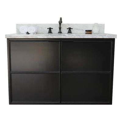 Scandi IV 37 in. W x 22 in. D Wallmount Bath Vanity in Cappuccino with Marble Top in White with White Rectangle Basin