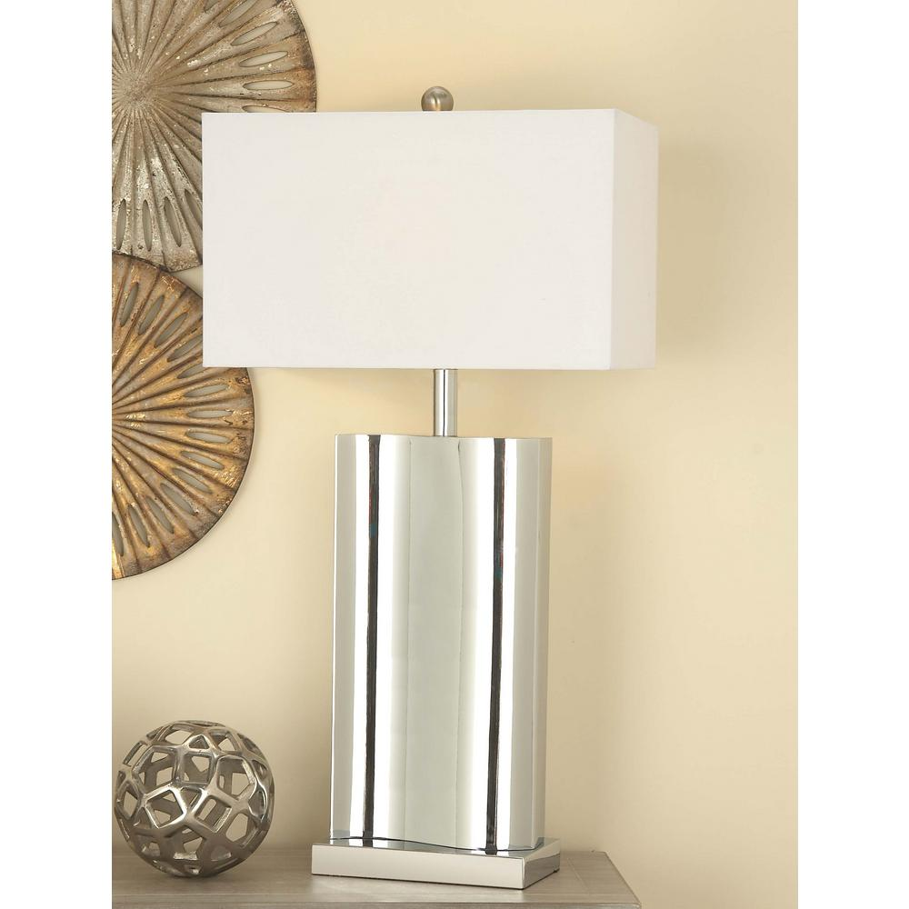 Classic USB Inspired White Metal Table Lamp 78484   The Home Depot