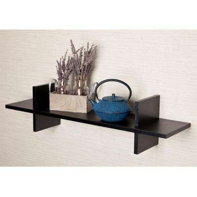 """31 in. x 8 in. Black Laminated """"H"""" Shaped Floating Wall Shelf"""
