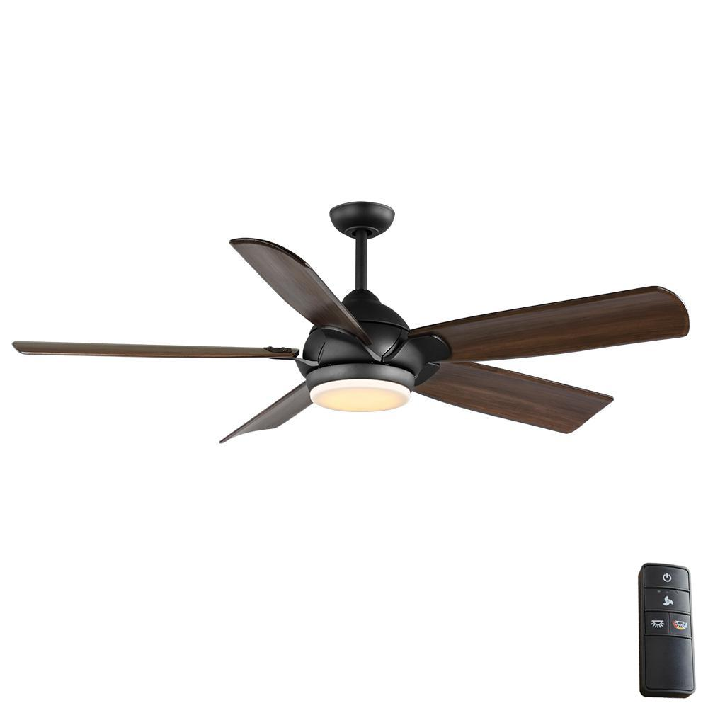 Home Decorators Collection Camrose 60 in. Integrated LED Bronze Ceiling Fan with Light Kit and Remote Control with White Color Changing Technology