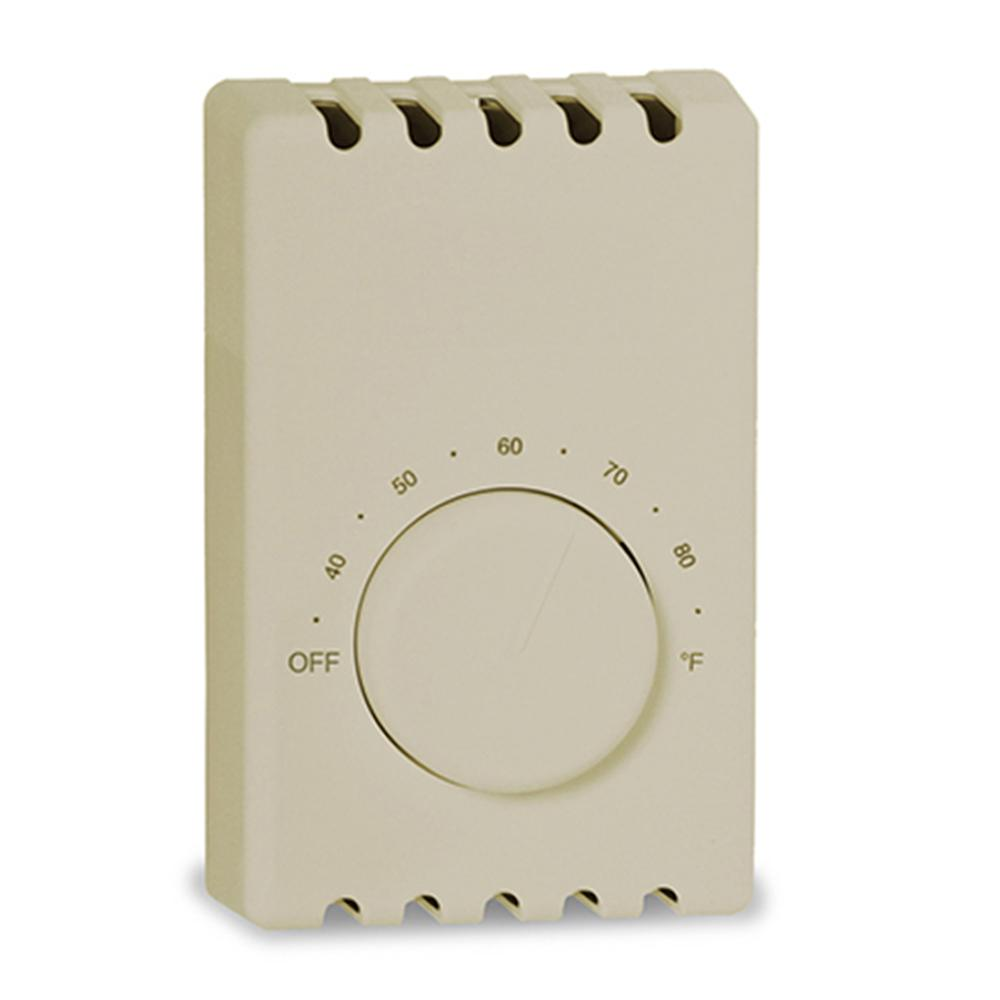 Cadet Double-Pole 22 Amp 120/240-Volt Wall-Mount Mechanical Non-Programmable Thermostat in Taupe