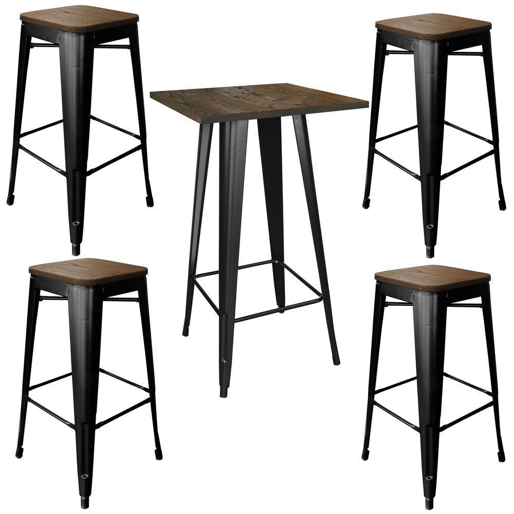 Amerihome Loft Style 30 In Bar Table Set Black With Dark Elm