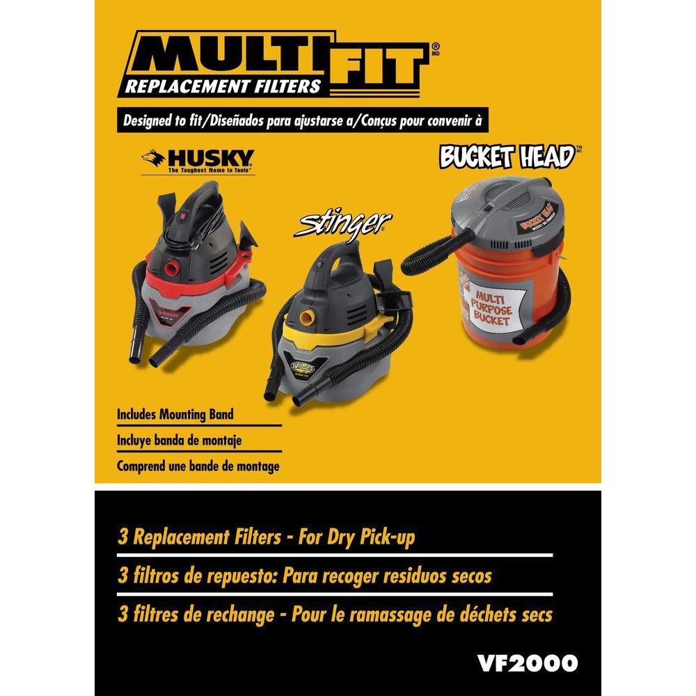 Bucket Head /& Husky Wet//Dry Rigid Vacs RIDGID VF2000 Cloth Filters for Stinger