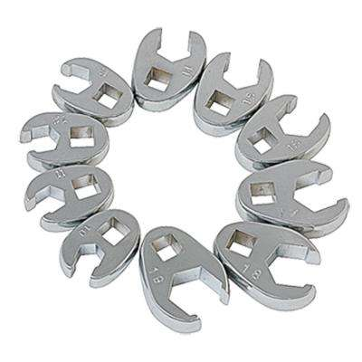 3/8 in. Drive Metric Crowfoot Flare Nut Wrench Set (10-Piece)