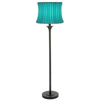 59.5 in. H Blue Outdoor/Indoor Floor Lamp with Basketweave Shade