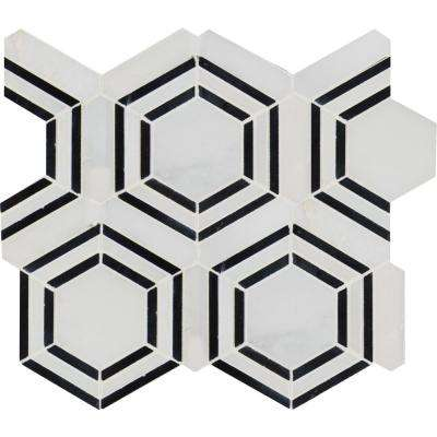 Georama Nero 13 in. x 11 in. x 10 mm Polished Marble Mesh-Mounted Mosaic Tile (9.9 sq. ft. / case)