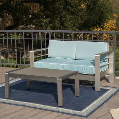 Cape Coral Silver 2-Piece Aluminum Patio Conversation Set with Light Teal Cushions