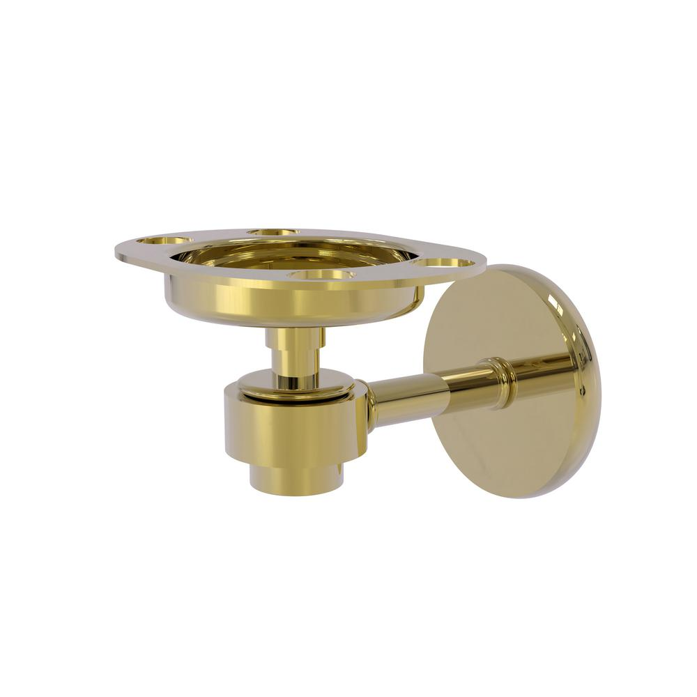 Allied Brass Satellite Orbit 1-Tumbler and Toothbrush Holder in Unlacquered Brass