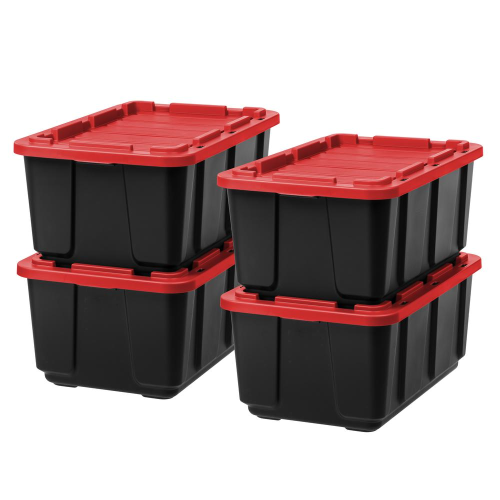 Storage Tote In Black With Red Lid (4 Pack) 589092   The Home Depot