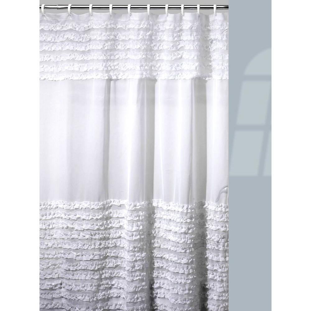 Creative Bath Ruffles Shower Curtain Hooks Rug Set In White