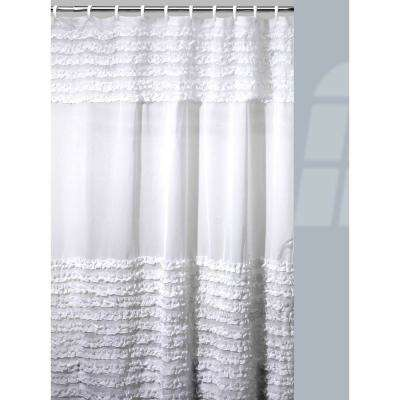Ruffles Shower Curtain/Hooks/Bath Rug Set in White