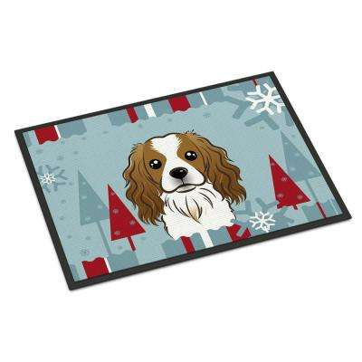18 in. x 27 in. Indoor/Outdoor Winter Holiday Cavalier Spaniel Door Mat