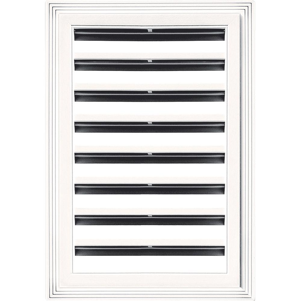 Builders Edge 12 in. x 18 in. Rectangle Gable Vent #117 Bright White