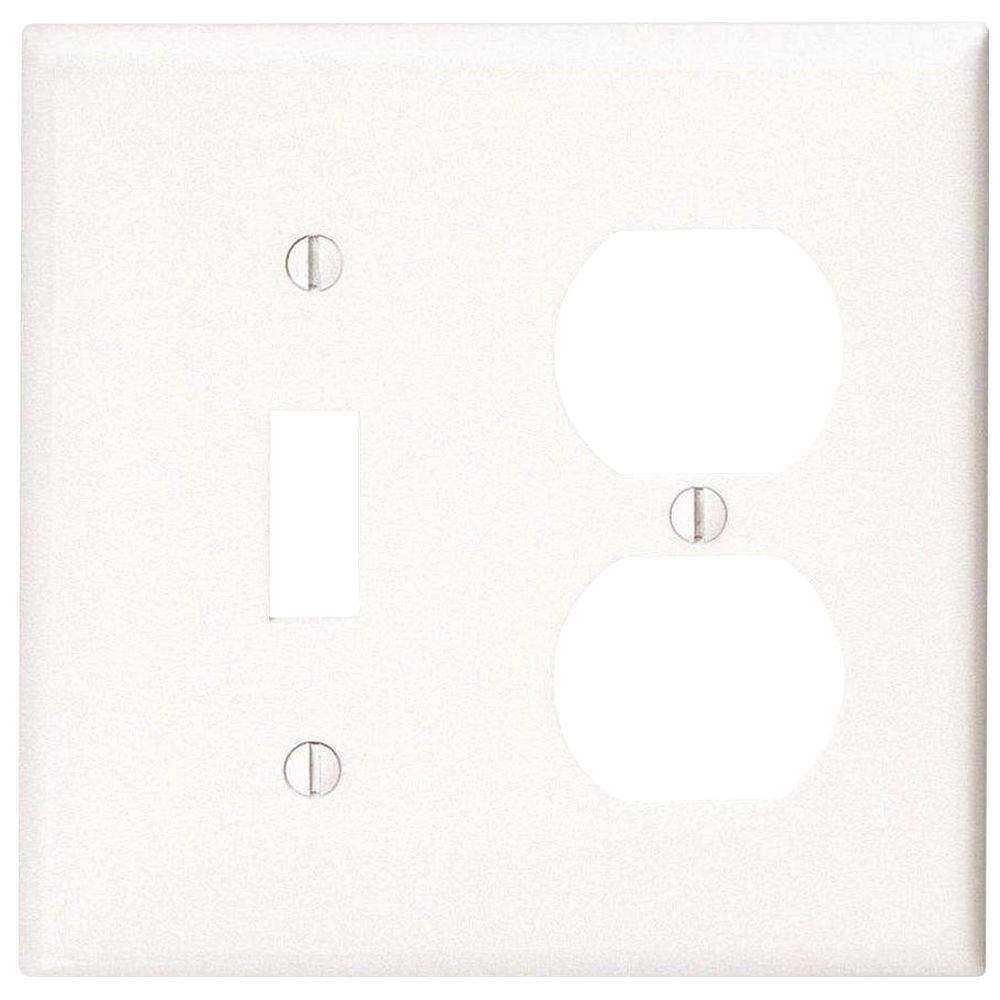 2-Gang 1-Toggle 1-Duplex Combination Wall Plate, White