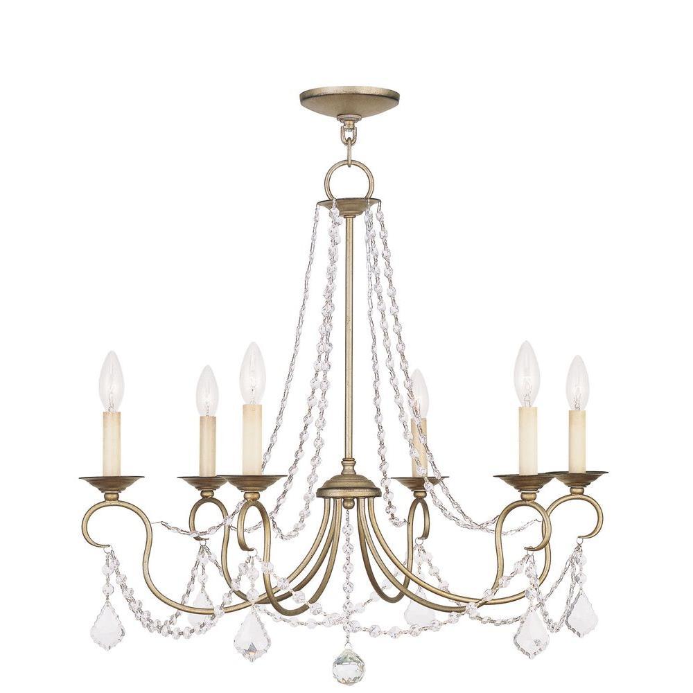 Livex Lighting Providence 6-Light Antique Silver Leaf Incandescent Ceiling Chandelier