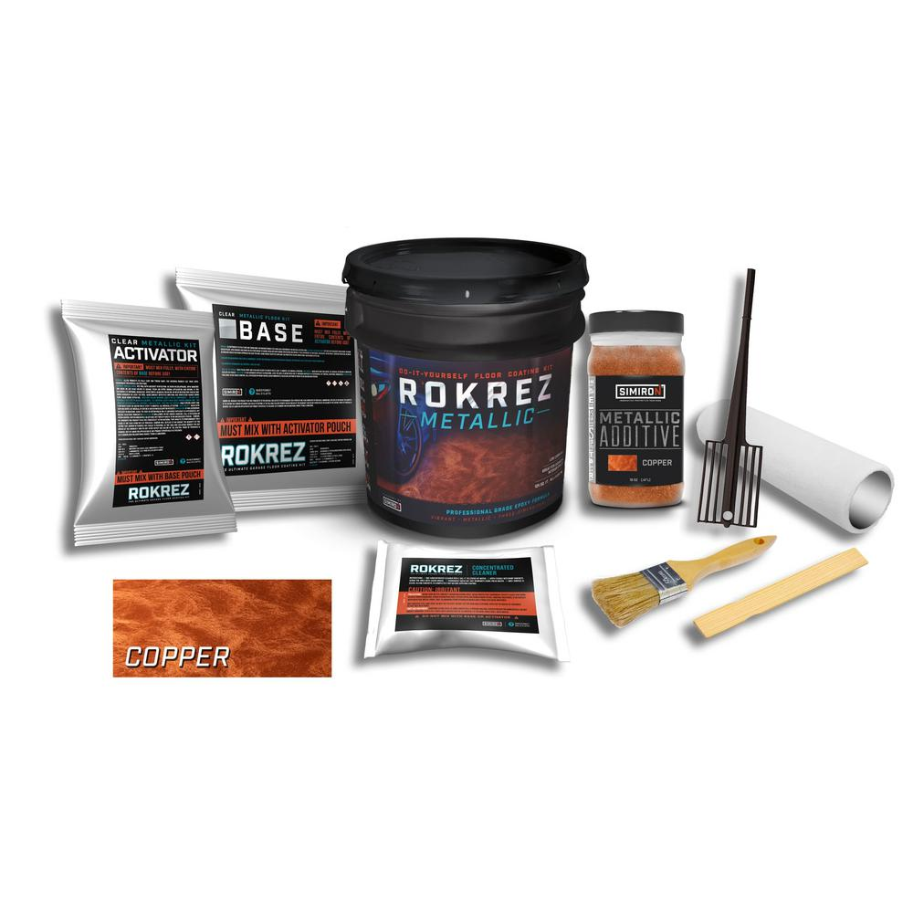 SIMIRON ROKREZ 128 oz. Copper Gloss 125 sq. ft. Metallic DIY 2 Component 100% Solids All-In-One Epoxy Garage Floor Kit