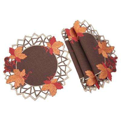 0.1 in. H x 12 in. W Round Harvest Hues Embroidered Cutwork Fall Doilies (Set of 4)